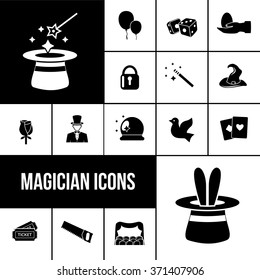 Magician icons black set with rabbit in hat magic wand and playing cards isolated vector illustration