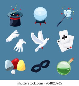 Magician icons set. Surprise vector illustrations in cartoon style. Magic wand, mystery book, cylinder