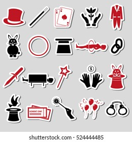 magician and magic theme set of stickers eps10