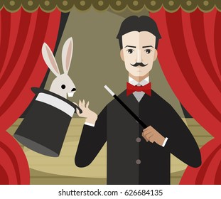 magician magic trick bunny rabbit with top hat on theater stage