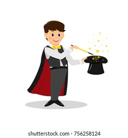 Magician with  magic wand..Isolated on white background. Cartoon style. Vector illustration