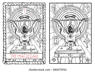 The magician. The major arcana tarot card, vintage hand drawn engraved illustration with mystic symbols. Man wearing mantle and holding magic wand. Sword, cup and coin on the table.
