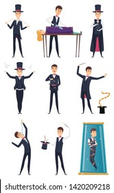 Magician. Male performer showmen in black costume and white gloves magic tricks vector cartoon characters. Magic performer, performance entertainment, illusionist and wizard illustration