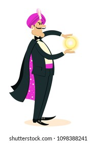 Magician man doing a trick with Magic sphere in hands.Vector illustration of show isolated