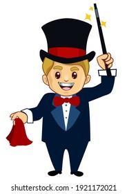 magician mascot cartoon in vector