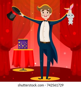 Magician with a Mustache, Magic Man Performing Trick, Illusionist with Rabbit, Cartoon Character Hand Drawn Vector Illustration EPS 10