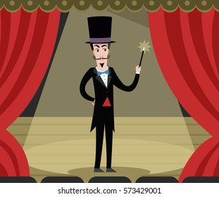 magician on theater stage show