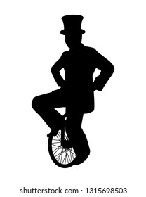 Magician on unicycle while juggling show silhouette vector