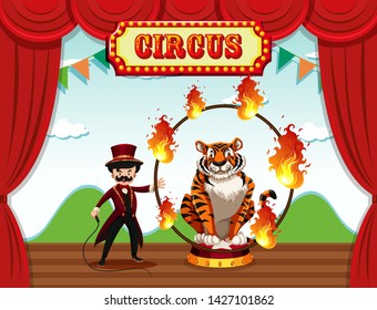 A magician perform on stage illustration