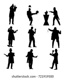 Magician performing trick with cards, pigeon, rabbit, balls vector silhouette illustration isolated on white. Magic performer illusionist,disappears and rises. Group of illusionist and artist.