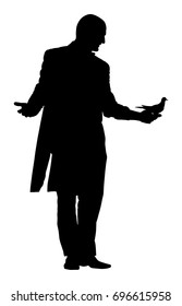 Magician performing trick with pigeon or dove, vector silhouette illustration isolated. Magic performer illusionist. Live bird disappears and rises.  Cabaret show or circus entertainment performance.