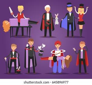 Magician prestidigitator illusionist character tricks juggler vector illustration magic conjurer show cartoon man