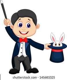 Magician pulling out a rabbit from his top hat