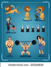 Magician with a row of rabbits in top hats with an animal trainer or lion tamer and strongman from a circus each showing three acts on a blue graduated background in a thin border  vector illustration