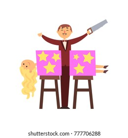 Magician sawed assistant body into two halves. Trick with magic box. Cartoon man character in elegant suit with saw in hand. Curly-haired blond woman. Flat vector design