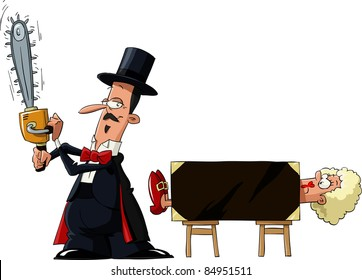 Magician sawing a woman with a chainsaw, vector illustration