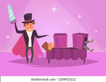 Magician sawing a woman Vector. Cartoon. Isolated art