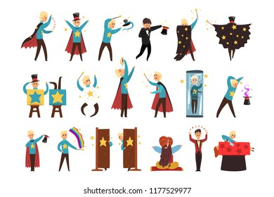 Magician showing tricks and focuses set of vector Illustrations isolated on a white background