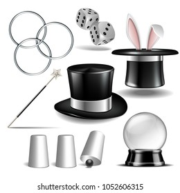 Magician symbol set with black cylinder hat, falling dice, Magic wand, rabbit ears appear from the magic hat, linking metal rings, Shell game and magic Globe