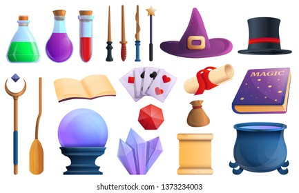 Magician tools icons set. Cartoon set of magician tools vector icons for web design