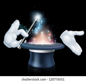 Magician's hands holding a magic wand and waving it over a magical top hat
