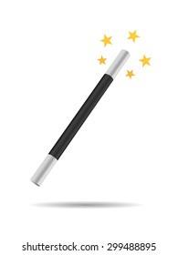 Magicians magic wand vector illustration isolated on white