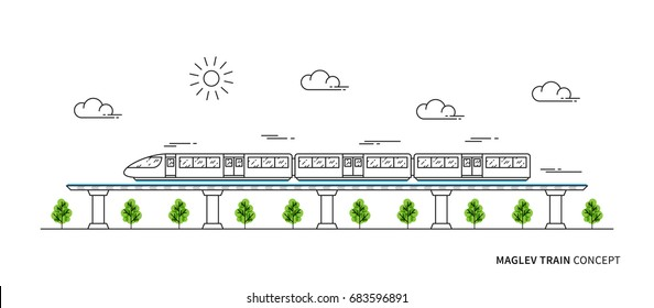 Maglev rail train vector illustration. Electric fast train line art concept. Monorail subway with magnet levitation technology graphic design.