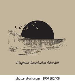 Maglova Water Arch in Istanbul, vector illustration. Turkish Translate: Moğlova Su Kemeri