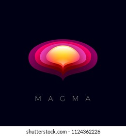 Magma logo. Sphere and orbits emblems. Abstract red and yellow logo. Beautiful abstract icon on a dark background.
