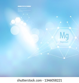 Magnesium. Abstract background with magnesium sign and template for text. Vitamins and minerals.