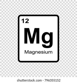 Magnesium chemical element. Sign with atomic number. Chemical element of periodic table.