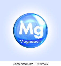 Magnesium mineral blue icon. Vector 3D glossy drop pill capsule  Mineral and vitamin complex. Healthy life medical and dietary supplement