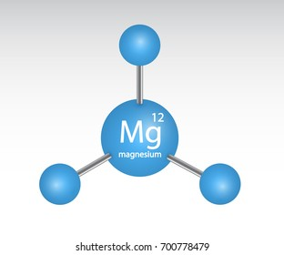 Magnesium mineral blue icon. Vector 3D glossy model molecule. Mineral and vitamin complex. Magnesium icon