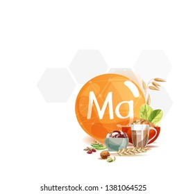 Magnesium. Natural organic products with a high content of trace elements Magnesium and the symbol Magnesium on a modern background