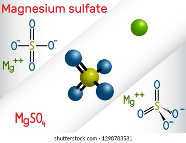 Magnesium sulfate molecule. It is is an inorganic salt and pharmaceutical drug. Structural chemical formula and molecule model. Vector illustration