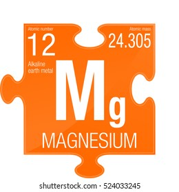 Magnesium symbol. Element number 12 of the Periodic Table of the Elements - Chemistry - Puzzle piece with orange background