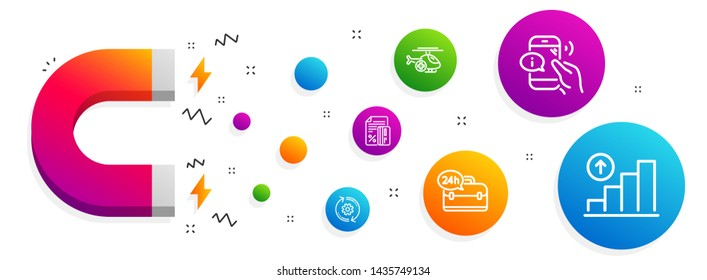 Magnet attracting. 24h service, Cogwheel and Call center icons simple set. Medical helicopter, Credit card and Graph chart signs. Support, Engineering tool. Business set. Line 24h service icon. Vector