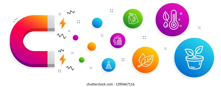 Magnet attracting. Bio shopping, Leaf and Thermometer icons simple set. Christmas tree, Bio tags and Leaves signs. Leaf, Nature leaves. Nature set. Line bio shopping icon. Editable stroke. Vector