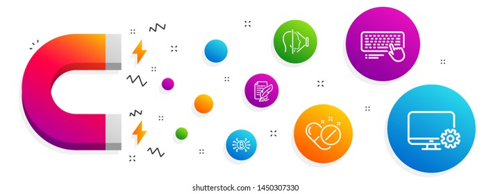 Magnet attracting. Bitcoin system, Face id and Computer keyboard icons simple set. Feather signature, Medical pills and Monitor settings signs. Cryptocurrency scheme, Phone scanning. Vector