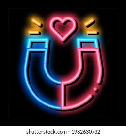 magnet attracting love neon light sign vector. Glowing bright icon magnet attracting love sign. transparent symbol illustration