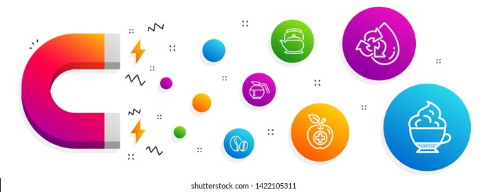 Magnet attracting. Recycle water, Coffeepot and Coffee beans icons simple set. Medical food, Teapot and Cappuccino cream signs. Refill aqua, Brewed coffee. Food and drink set. Vector