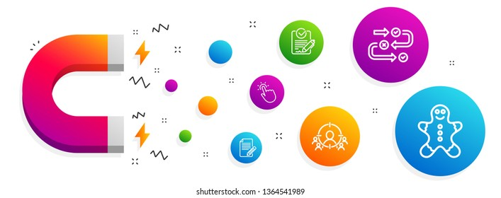Magnet attracting. Survey progress, Touchpoint and Article icons simple set. Business targeting, Rfp and Gingerbread man signs. Algorithm, Touch technology. Business set. Vector