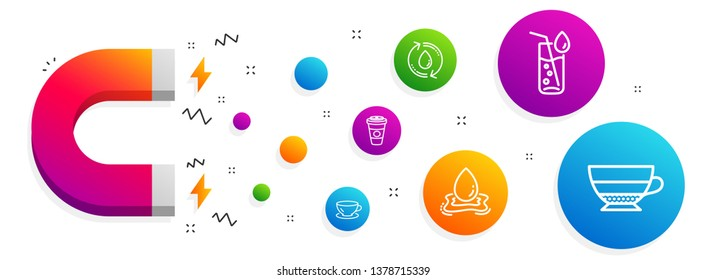 Magnet attracting. Water splash, Takeaway coffee and Water glass icons simple set. Espresso, Americano signs. Aqua drop, Hot latte drink. Food and drink set. Line water splash icon. Vector