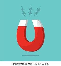 Magnet attraction concept. Red power metal tool in horseshoe shape. Flat vector illustration