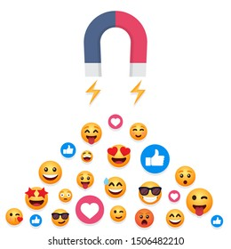 Magnet attracts emoticons, likes in a flat design