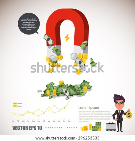 magnet collecting money infographic rich concept stock vector