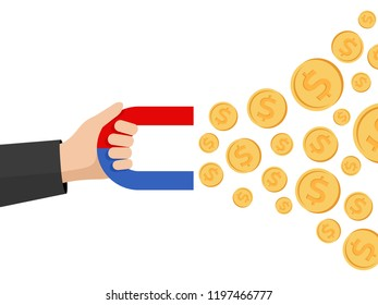 Magnet in hand attracts coins with dollar symbol - conceptual vector illustration of marketing, profit, investiment, wealth