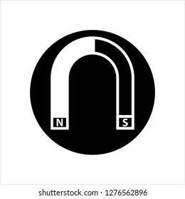 Magnet Icon, North Pole, South Pole Vector Art Illustration