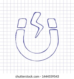 Magnet icon, sign of electromagnetic, silhouette of horseshoe, positive and negative energy. Hand drawn picture on paper sheet. Blue ink, outline sketch style. Doodle on checkered background