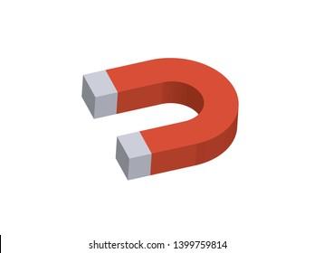 Magnet  Isolated on White Background,Isometric Vector Illustration